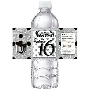 SWEET SIXTEEN SILVER & BLACK BIRTHDAY PARTY FAVORS WATER BOTTLE LABELS WRAPPERS
