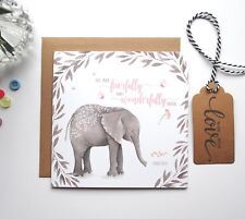 Elephant Bible Scripture Psalm 139:14 Dedication Baptism Christening Card-GC27E