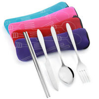 Portable Spoon Chopsticks Fork Cutlery Bag for Dinner Travel Camping Tableware*1