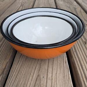Vintage Orange Blue Enamelware Bowl Set Of 3 Nesting Made In Poland