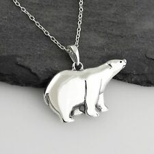 Polar Bear Necklace - 925 Sterling Silver - Pendant Arctic Snow Animal Zoo NEW