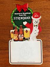 Rare Stroh's Beer Strohman Snowman Promotional Advertisement Sticker Label (L)