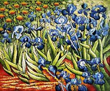 Ireses by Van Gogh, 20x24 Hand Painted Oil Painting, Reproduction on Canvas