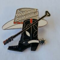 Oklahoma Centennial Lapel Hat Pin 2007 Cowboy Boot With Spur Hat Branding Iron