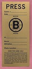 BOSTON BRUINS GARDEN PRESS PASS PHOTOGRAPHER NHL HOCKEY BLANK UN-DATED MUST READ
