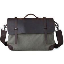 """Men's Retro Leather Canvas Messenger Shoulder Bag 14"""" Laptop Case Satchel Case"""