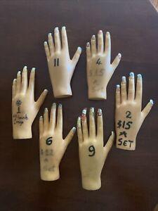 Lot Of 6 Hand Model Nail Practice Flexible Plastic Mannequin Nail Salon Training