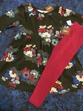 NWT 4 Tea Collection Kata Floral Black Knit Dress Magenta Ribbed Leggings