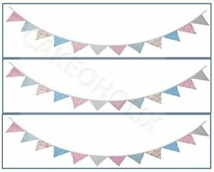 Vintage Bunting Edible Cake Side Strips or Ribbon on Icing Sheet Paper