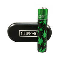 Full Size CLIPPER Flint Lighter Refillable METAL GREEN LEAFS CANNABIS W Case