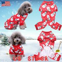 Small Pet Dogs Cats Snowman Printed Pajamas Clothes Christmas Costumes Jumpsuits