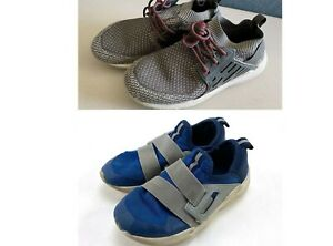 Lot 2 Pairs BOY'S Gym Athletic Gray/Blue Shoes US SIZE 1