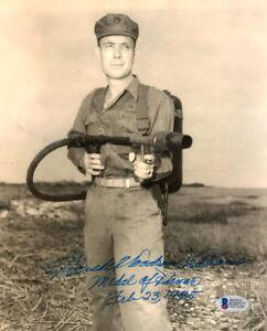 HERSHEL WILLIAMS SIGNED 8x10 PHOTO FULL NAME MEDAL OF HONOR IWO JIMA BECKETT BAS
