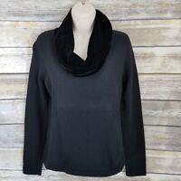 Vtg Ralph Lauren Size S Sweater Black Velvet Cowl Neck  Merino Wool Womens 412