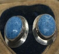 Vintage Sterling Silver Earrings 925 Blue Stone Southwest Round