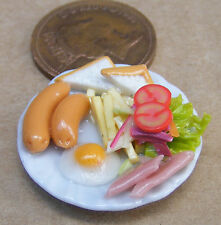 1:12 Scale Ham Egg Chips Sausage Salad On A 2.5cm Ceramic Plate Dolls House Food
