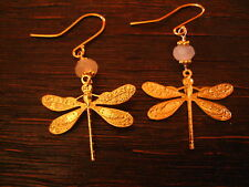 reizende Ohrringe Hänger Chandeliers Libelle 925er Silber vergoldet Rosenquarz