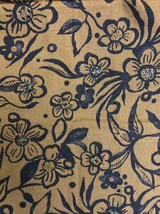 Cotton Fabric Batik Flowers w Sequin Embellishment - Brown Black 1 Yard
