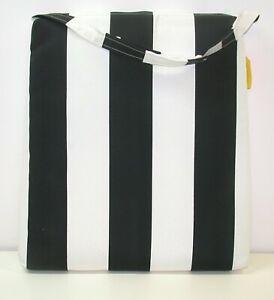Resort Spa Outdoor Seat Pad Black White Stripe Tapered 18/15.5 x 19.5 x 2.5 NEW