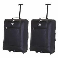 Ryanair Easyjet Flybe Set of 2 Cabin Approved Hand Trolley Suitcase Luggage Bags