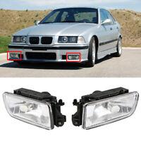 2x Front Bumper Fog Lights Lamps Clear Lens For BMW E36 3 Series 318I 92-98 UK