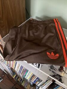 Adidas Vintage Brown And Orange Firebird Tracksuit Trousers Large