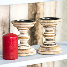 Candle Sticks Set of 2 13cm Shabby Chic Retro Wooden Candlestick Holders Pillar