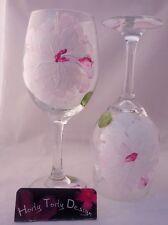 2 Pink Hand-painted White Peony Wine Glasses