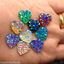 50pcs Mixed AB 12mm Flat Back Heart Sew On Resin Rhinestones 2 Hole Buttons Gems