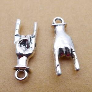 10pcs Hand Charms Gesture 3D Antiqued Silver Tone Pendant Diy 8*22mm