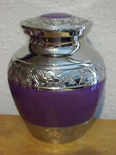 """Smaller Pearly Purple on Plated Nickel Solid Brass Urn~~4""""~Infant~ up to 18Lbs"""