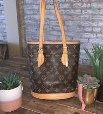Vintage Authentic LOUIS VUITTON Hand Bag Bucket PM Brown Monogram