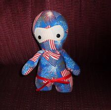 4TH OF JULY  PLUSH  PILLOW DOLL   RED WHITE & BLUE  FLAGS  BUTTON EYES HOME MADE