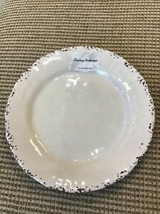 """Tommy Bahama Plate 100% Melamine Rustic Crackle CREAM IVORY Round 11"""" Dinner Nwt"""