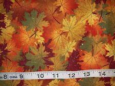 "New Rare Elegant Sparkle Fall/Autumn Leaves 100% Cotton 11""L By 44""W Last Piece"
