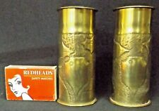 TRENCH ART 1918 WW1 BRASS SHELL CASINGS LIDDED TOPS ENGRAVED LEAVES THE SOMME