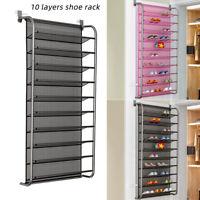 Over Door Hanging Shoe Rack 10 Tier Shelf Organiser Space Save Storage Holder