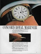 1984 Concord Royal Mariner 14 Karat Thin Watch Color Original Vintage Print AD