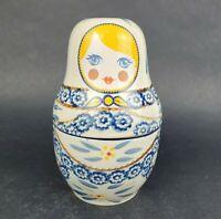 TEMPTATIONS BY TARA Measuring Cups Nesting Doll Babushka Doll Old World Blue