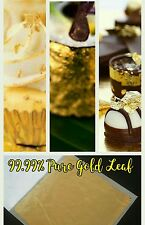24K 99.99% PURE GOLD LEAF 20 SHEETS FOOD GRADE + EDIBLE,DECORATING,ART 3.5x3.5cm