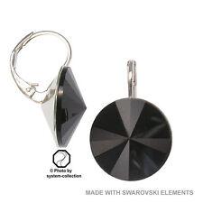 14mm Pendiente Con Elementos Swarovski, color: Negro