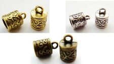 13MM TIBETAN SILVER TERMINATORS/BEAD/END CUPS FOR LEATHER , HOLE: 6MM - 10PCS