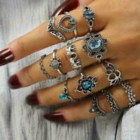 13pcs Sky Blue Crystal Turtle Fingerringe Knuckle Midi NEU Boho Schmuck R4O3