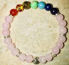 Ladys Chakra Pink Bracelet/8mm Chakra Stones & Pink Beeds