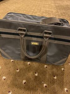 Vintage Oleg Cassini Airway Large Brown Luggage Travel Carry On Tote Bag 21 x 14