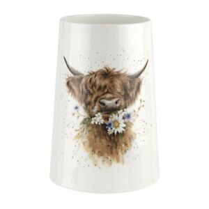 Wrendale Flowers Vase Daisy Coo Cow Porcelain from Royal Worcester Height 20cm
