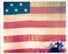 Press Photo Large American Flag Small Oliver North