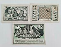 STROEBECK NOTGELD 25,50,75 PFENNIG 1921 EMERGENCY MONEY GERMANY BANKNOTES (9717)