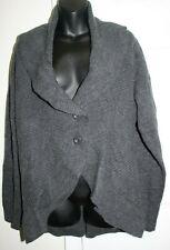 QVC Motto 2x Rib Knit Button Front Shawl Collar Gray Cardigan Sweater Wool