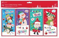 8 Mignon Noël Argent Bon Portefeuilles Cartes avec Enveloppes